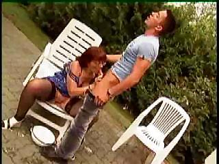 granny in glasses and stockings outdoor shave and